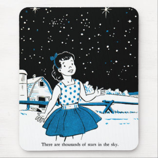 Retro Vintage Kitsch Childrens Book 1000s of Stars Mouse Pad