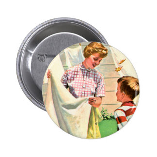 Retro Vintage Kitsch Childrens Book Laundy Day Pinback Button
