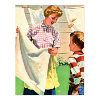 Retro Vintage Kitsch Childrens Book Laundy Day Postcard