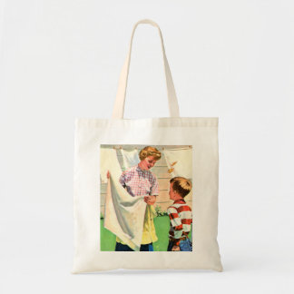 Retro Vintage Kitsch Childrens Book Laundy Day Tote Bag