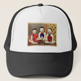 Retro Vintage Kitsch Chinese with Cats Trucker Hat