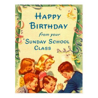 Retro Vintage Kitsch Church Sunday School Card
