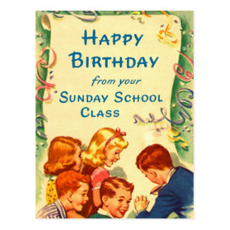 Retro Vintage Kitsch Church Sunday School Card Postcard