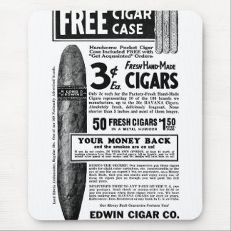 Retro Vintage Kitsch Cigar Ad Cigars 3¢, Free Case Mouse Pad