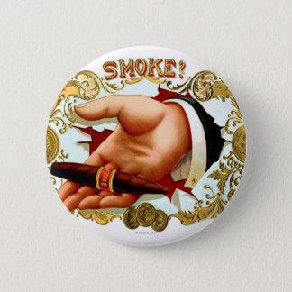 Retro Vintage Kitsch Cigar Box Art 'Smoke?' Button
