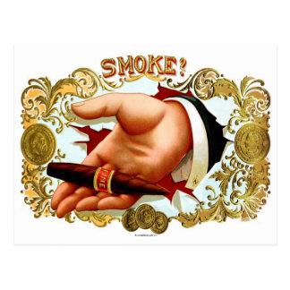 Retro Vintage Kitsch Cigar Box Art 'Smoke?' Postcard