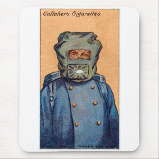 Retro Vintage Kitsch Cigarette Card 'Gas Mask' Mouse Pad