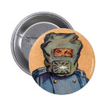 Retro Vintage Kitsch Cigarette Card 'Gas Mask' Pin