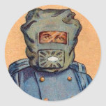 Retro Vintage Kitsch Cigarette Card 'Gas Mask' Stickers