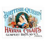 Retro Vintage Kitsch Cigars British Queen Havana Postcard