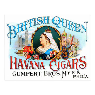 Retro Vintage Kitsch Cigars British Queen Havana Postcard