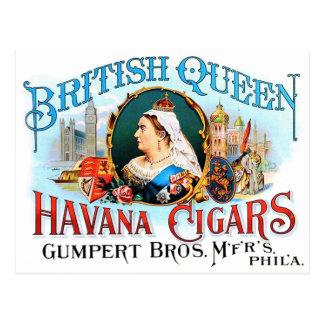 Retro Vintage Kitsch Cigars British Queen Havana Postcards