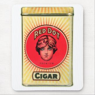 Retro Vintage Kitsch Cigars Red Dot Cigar Tin Mouse Pad