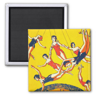 Retro Vintage Kitsch Circus Trapeze Artists 2 Inch Square Magnet