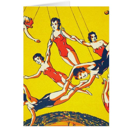 Retro Vintage Kitsch Circus Trapeze Artists Greeting Card