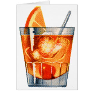 Retro Vintage Kitsch Cocktail Drink Old Fashioned Card