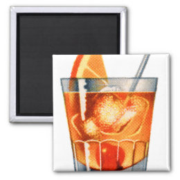 Retro Vintage Kitsch Cocktail Drink Old Fashioned Magnet