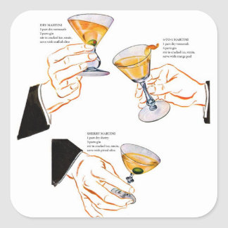 Retro Vintage Kitsch Cocktails 3 Martinis Square Sticker