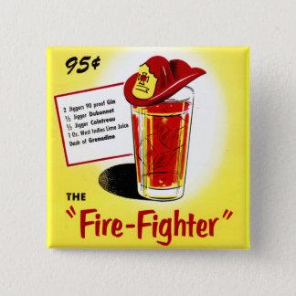 Retro Vintage Kitsch Cocktails Drinks Firefighter Pinback Button