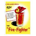 Retro Vintage Kitsch Cocktails Drinks Firefighter Postcard