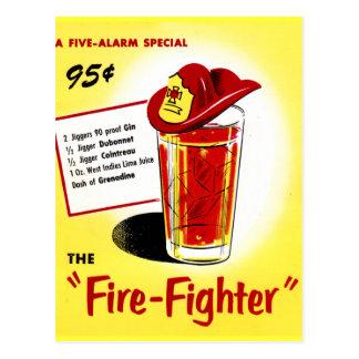 Retro Vintage Kitsch Cocktails Drinks Firefighter Postcard