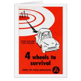 Retro Vintage Kitsch Cold War 4 Wheels to Survive Card