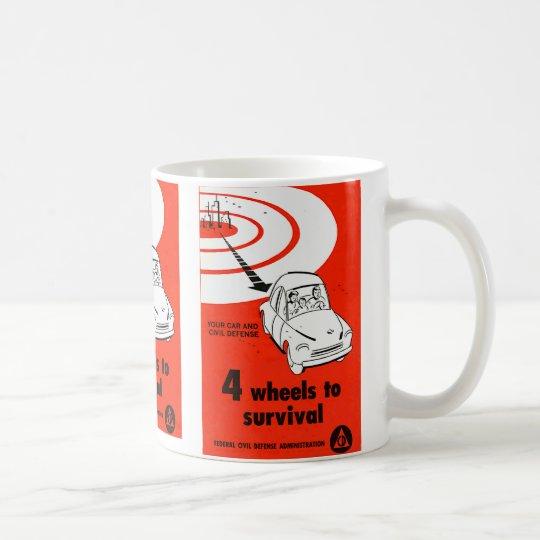 Retro Vintage Kitsch Cold War 4 Wheels to Survive Coffee Mug