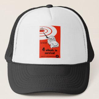 Retro Vintage Kitsch Cold War 4 Wheels to Survive Trucker Hat