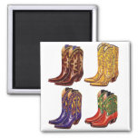 Retro Vintage Kitsch Colorful Cowboy Boots 2 Inch Square Magnet