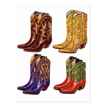 Retro Vintage Kitsch Colorful Cowboy Boots Postcard