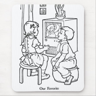 Retro Vintage Kitsch Coloring Book TV Loving Kids Mouse Pad