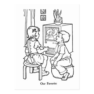 Retro Vintage Kitsch Coloring Book TV Loving Kids Postcard