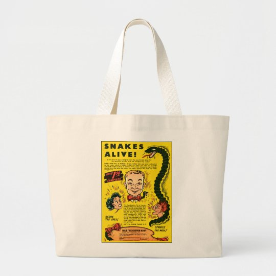 Retro Vintage Kitsch Comic Ad Snakes Alive Large Tote Bag