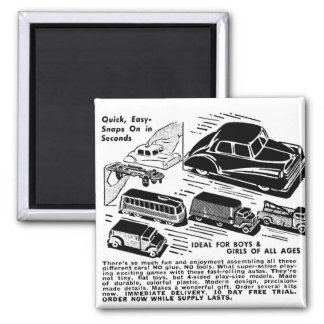 Retro Vintage Kitsch Comic Book Ad Plastic Toy Car 2 Inch Square Magnet