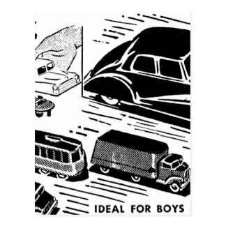 Retro Vintage Kitsch Comic Book Ad Plastic Toy Car Postcard