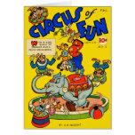 Retro Vintage Kitsch Comic Book Circus of Fun Greeting Card
