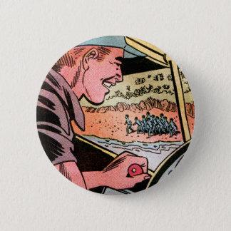 Retro Vintage Kitsch Comic Book Natives Below! Art Pinback Button