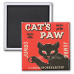 Retro Vintage Kitsch Condom Package Cat's Paw 2 Inch Square Magnet