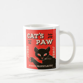 Retro Vintage Kitsch Condom Package Cat's Paw Classic White Coffee Mug
