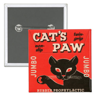Retro Vintage Kitsch Condom Package Cat's Paw Pinback Button