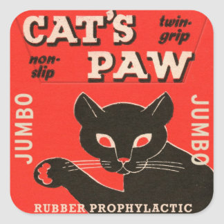 Retro Vintage Kitsch Condom Package Cat's Paw Square Sticker