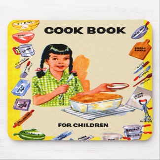 Retro Vintage Kitsch Cookbook for Children Art Mousepads