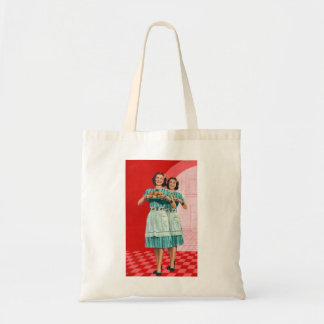 Retro Vintage Kitsch Cooking Kitchen Housewife Tote Bag