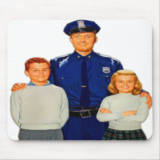 Retro Vintage Kitsch Cop Police Are Your Friends Mousepads