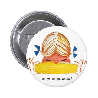 Retro Vintage Kitsch Corn On The Cob Cartoon Girl Pin