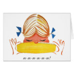 Retro Vintage Kitsch Corn On The Cob Cartoon Girl Cards