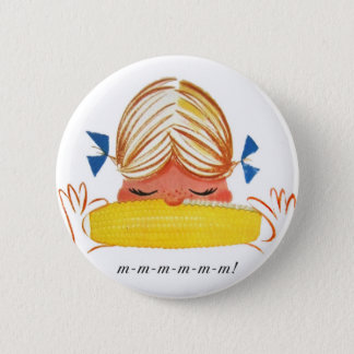 Retro Vintage Kitsch Corn On The Cob Cartoon Girl Pinback Button