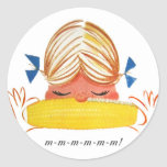 Retro Vintage Kitsch Corn On The Cob Cartoon Girl Round Stickers