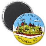 Retro Vintage Kitsch Corn Palace South Dakota 2 Inch Round Magnet