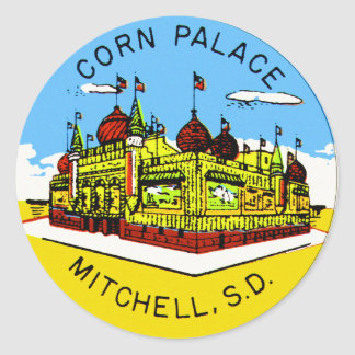 Retro Vintage Kitsch Corn Palace South Dakota Classic Round Sticker